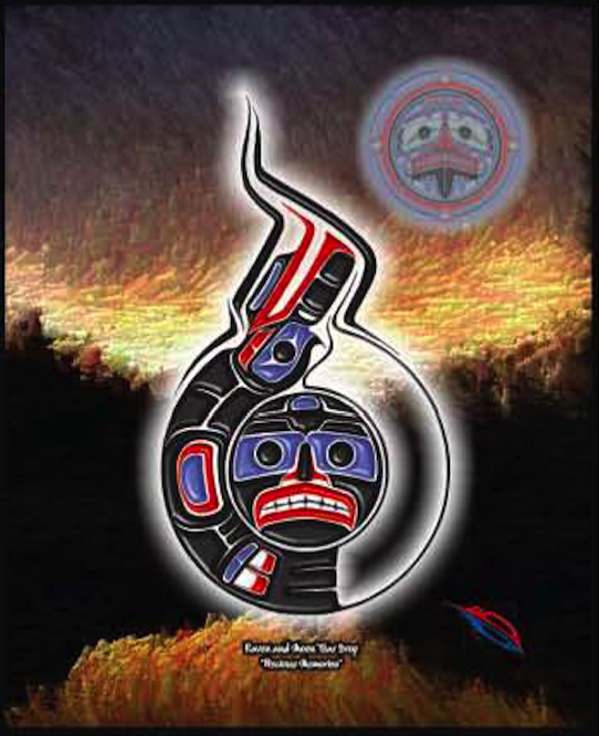 Heiltsuk  Raven & Moon (Tear drop design)